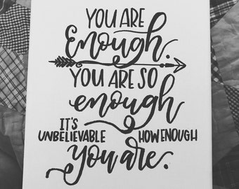 You are enough canvas-motivational quote