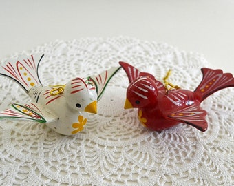 vintage bird ornaments pennsylvania dutch bird ornaments red white bird decor