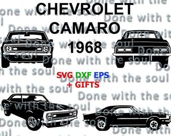 Chevrolet camaro - 1968 - Camaro vector - Chevrolet vector - Camaro chevy - Car front - Car side - Chevy digital - Muscle car - Car cut