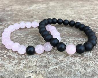 Pink Distance/Friendship Bracelets - Pink And Black - For Friendships/relationships/couples - Long Distance Split Set