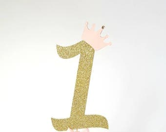 Age One Birthday Party.Cake Topper. First Birthday. Party Decorations.Birthday Party Ideas.Pink and Gold.Birthday Cake Decoration.Cake Smash