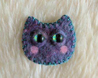 Kitty Needle Felted Brooch