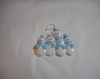 Blue and White Snowman family of 5