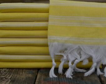 "Yellow Peshtemal,Hammam Towel,Spa Towel,Turkish Towel,Turkish Peshtemal,Bath Peshtemal,Beach Peshtemal,39""x70"""