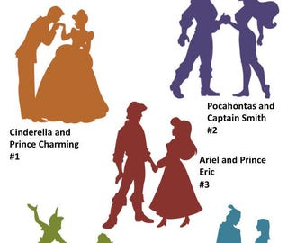Disney princess decal/Disney couple silhouette/disney sticker/vinyl/princess silhouette/vinyl decal