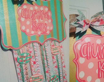 Baby Girl Hospital Birth Announcement Door Hanger and Bow Holder. Colors can be customized.