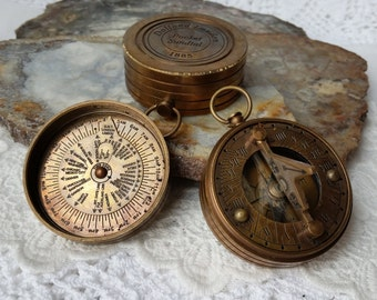"""Sundial Compass, 2"""" Large Brass  Sundial Compass, Antique Reproduction- STEAMPUNK  Solid Brass Compass, Portable Gift for Men"""