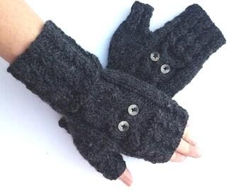 Fingerless Chunky Mittens Knitted Gloves Black Owl
