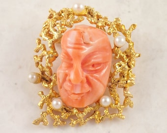 18K Yellow Gold Coral and Pearl Brooch/ Pendant