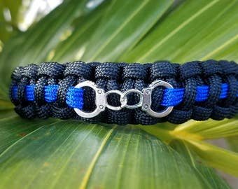 Thin Blue Line with Handcuffs Paracord Bracelet, Police Officer Paracord Bracelet, Thin Blue Line Bracelet, Thin Blue Line, Law Enforcement
