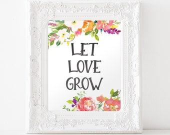 Let Love Grow Sign - Let Love Grow Printable - Seed Favors - Printable Wedding Sign - Favor Sign - Favor Table Sign - Digital Download 8x10