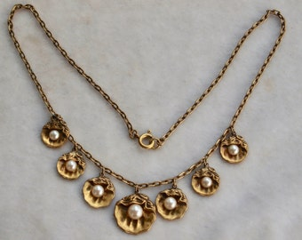1920's Brass And Glass Shell Necklace