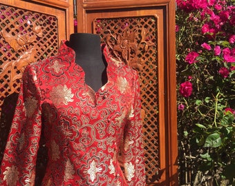 Red Silk Jacket Top Pin-Up Realness 80s style QiPao Dress Cheongsam Ao Dai Suit