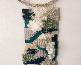Handwoven Tapestry Weaving—Peaceful Meditation 1: Naturals and Blues