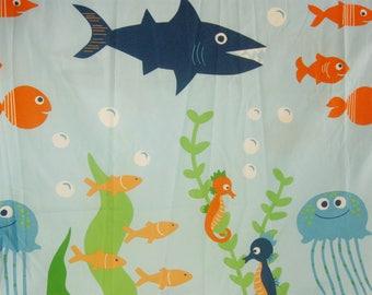 Vintage Kids Shower Curtain, Ocean Fish Fabric Bathroom Curtain, Child Bath  Room Decor 70  Kids Shower Curtain