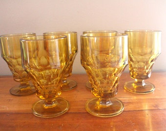 Vintage 1970s Amber Glass Honeycomb Drinking Glasses - Set of 6 - Footed Pedestal Base Wine Glasses - Retro Drinkware Barware