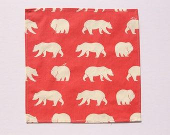 1 handkerchief cotton bear - Pocket washable - wipe - reusable Kleenex tissue - durable washable handkerchief - Zero waste