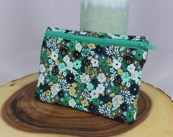 Floral zipper pouch - turquoise, gold, green