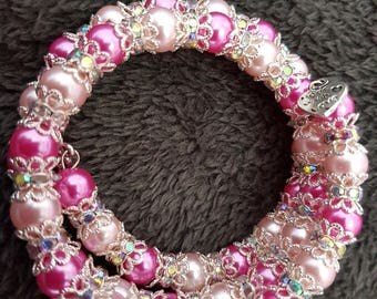 Pink bead and rhinestone dividers memory bracelet