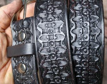 """black dress belt -- Tooled  Leather Belt -- 1 1/2"""" Belt  -- Hand Stamped Belt -- Custom Belt --  Made in the USA"""