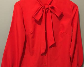Vintage 1970s Red Bow Blouse Size Medium