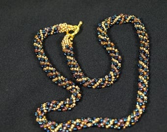Blue and gold Russian Spiral necklace