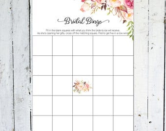Bridal Shower Bingo, Floral, Boho, Bridal Shower, Flowers, Instant Download, Printable, Bridal Bingo
