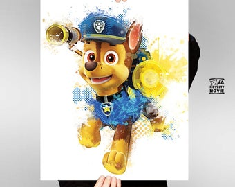 Chase, Paw Patrol, Chase printable, Chase watercolor, Chase wall decor, Nursery, Kids room decor,