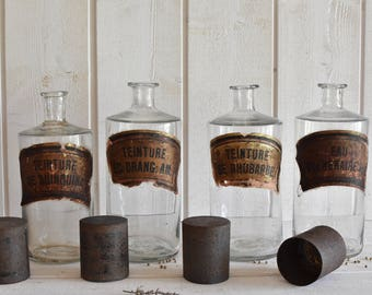 Antique French Large 4 Apothecary jars pharmacy bottles chemistry FRANCE  1920s. Mouth blown.  shabby Nordic Living decor
