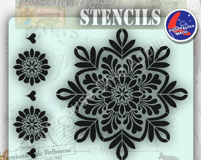 Mylar Mandala Furniture Stencil, French Vintage Stencil, Artist Stencil, Cake Stencil, Furniture Decoration, Wall Stencil, Border Stencil.