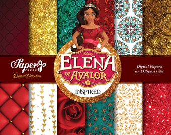 Elena of Avalor Digital Scrapbook Paper and Clipart set, Elena of Avalor Patterns, Chevron, Elena of Avalor Birthday Party