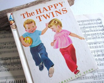 Vintage Book The Happy Twins  Book for Kids  Nursery Decor  Elf Book Old Books