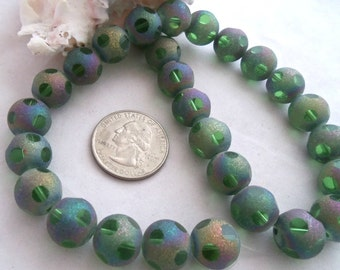 10 mm Green Glass Beads with Glittery AB Finish (1952)