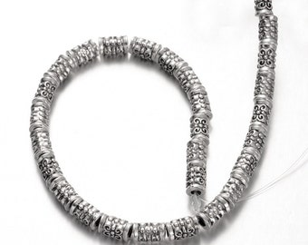 Tibetan Style Detailed Tube Beads, Strand of Approx 28 Beads (1824)