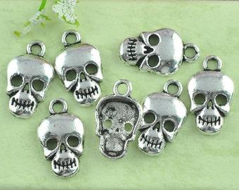 10 Skeleton Skull Charms AS 17x10mm (S24k2)