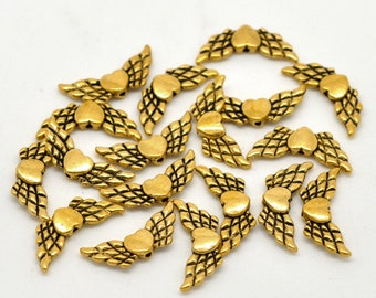 20 Antique Gold Heart & Wing Charms 22 x 9mm (B160a)