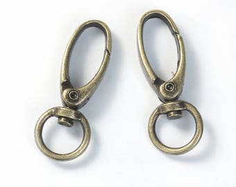 5 Antique Bronze Lobster Swivel Clasps For Key Rings 44mm (B188e)