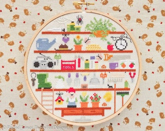 Cute Garden Shed Cross Stitch Pattern PDF | Cute Room Cross Stitch Series | Easy | Modern | Beginners Counted Cross Stitch Pattern