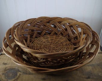 French Style Wicker Bread Basket LARGE  (Set of 2), Hand Made French Country Decor