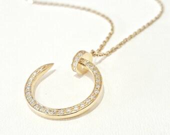 18 KARAT Yellow Gold Nail Style(Inpired) pendant diamond  0.32CT