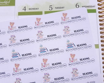 Reading stickers, planner stickers, reading tracker, habit tracker, sidebar stickers, book stickers for Erin Condren, Happy Planner etc.