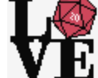 Love Gaming d20 Art Perler Bead Sprite Pixel Pattern Instant Digital Download