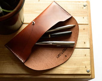 Brown vegtanned leather case | Leather pouch | Pencil case