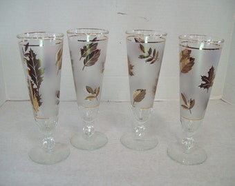 Libbey Gold Leaf Frosted Stemware, Pilsner Glass, Set of Four Free Shipping
