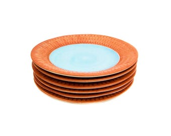 Set of Six Fioriware Harlequin Embossed Pumpkin & Blue 9 Inch Plates