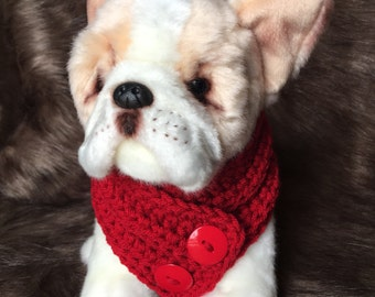 Small Dog Scarf Button Scarf, Neck Warmer, Cowl,  Puppy Fashion, clothe, collar, Custom Colors, Small Breed Dog or Puppy