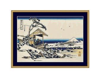 Japanese Winter Landscape Counted Cross Stitch Pattern, Katsushika Hokusai, Teahouse at Koishikawa, Instant Download  (P-449)