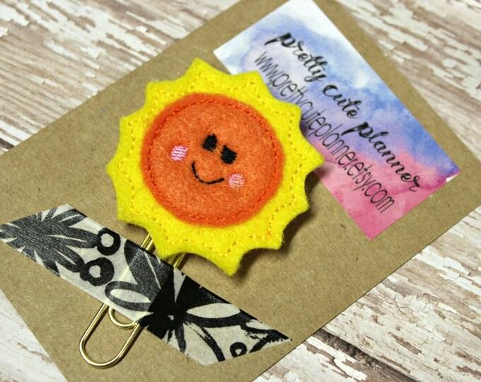 Planner Clip - Planner Bookmark - Sunshine Planner clip - Smiling Sun Planner clip- Felt Planner Clip - Felt Bookmark - Feltie - Paper clip