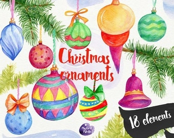 Watercolor Christmas clipart -  tree ornaments, New Year , winter holidays - 18 watercolor elements, 600 dpi PNG; bows; fir branches