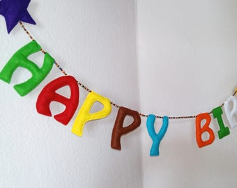 Happy Birthday felt letter garland, Text banner, chain